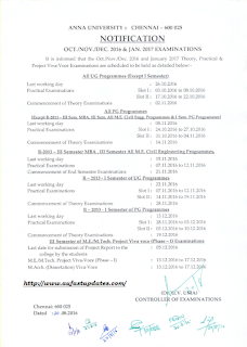 Anna University OCT NOV DEC 2016 AND JAN 2017 Theory, Practical, Project Viva-Voce Examinations - Schedule