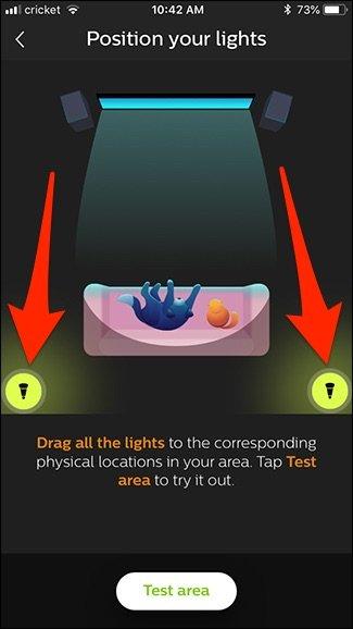 Area test Hue app Philips