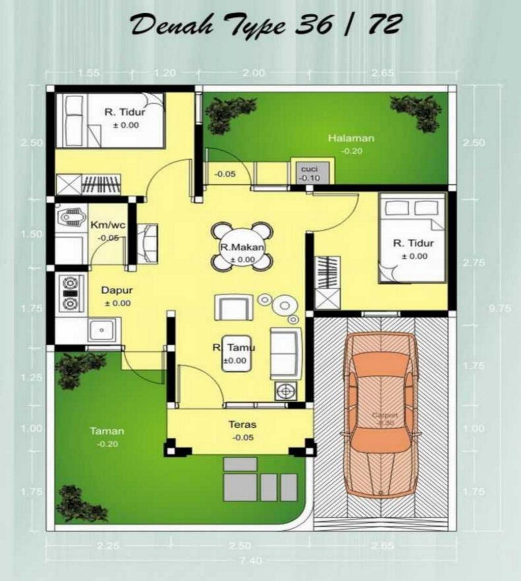 Sketsa Denah Luasnya Tanah 7x10 Modern
