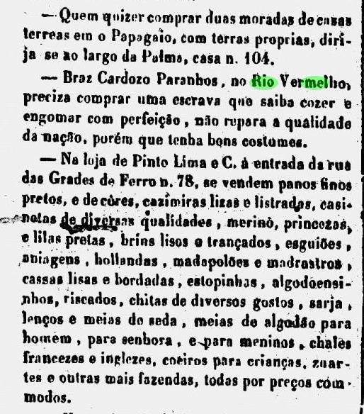 Anúncio de compra de escrava no Rio Vermelho