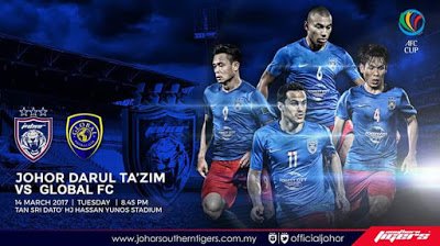 Live Streaming JDT Vs Global FC AFC Cup 14 Mac 2017