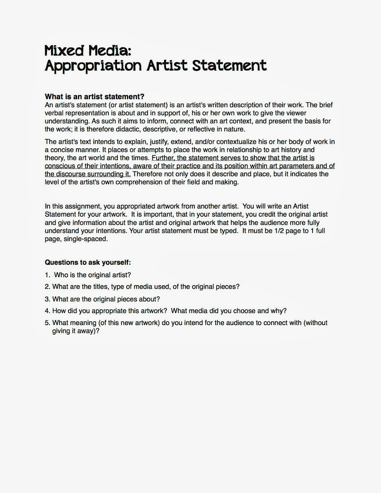 Project Art A Day Lesson Appropriation Artwork