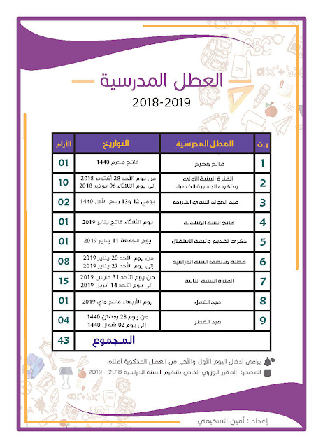 لائحة العطل المدرسية 2018-2019