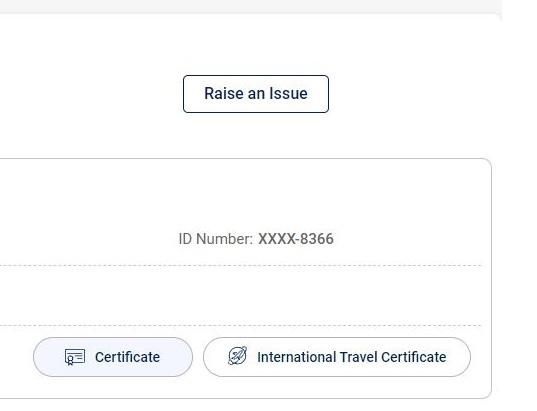 CoWIN International Certificatte