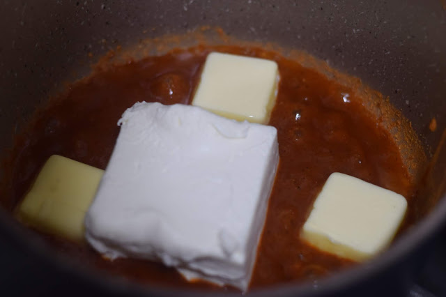 Cream cheese and butter added to the sauce pan.