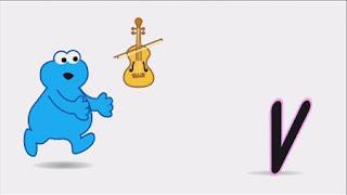 Animated Cookie Monster sings the V Violin Song, Sesame Street Episode 4404 Latino Festival season 44