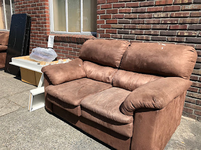 Two brown couches basking in the sun, getting an early start on their summer tan.