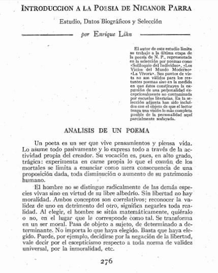 Introducción a la poesía de Nicanor Parra por Enrique Lihn