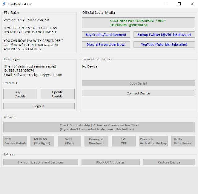 F3arRa1n V4.4.2 iCloud Bypass iOS 14.7.1/12.5.4