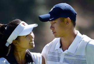 Collin Morikawa With His Girlfriend And Caddie Katherine Zhu