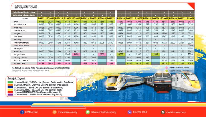 Jadual KTM ETS KL Sentral - Sungai Buloh - Ipoh