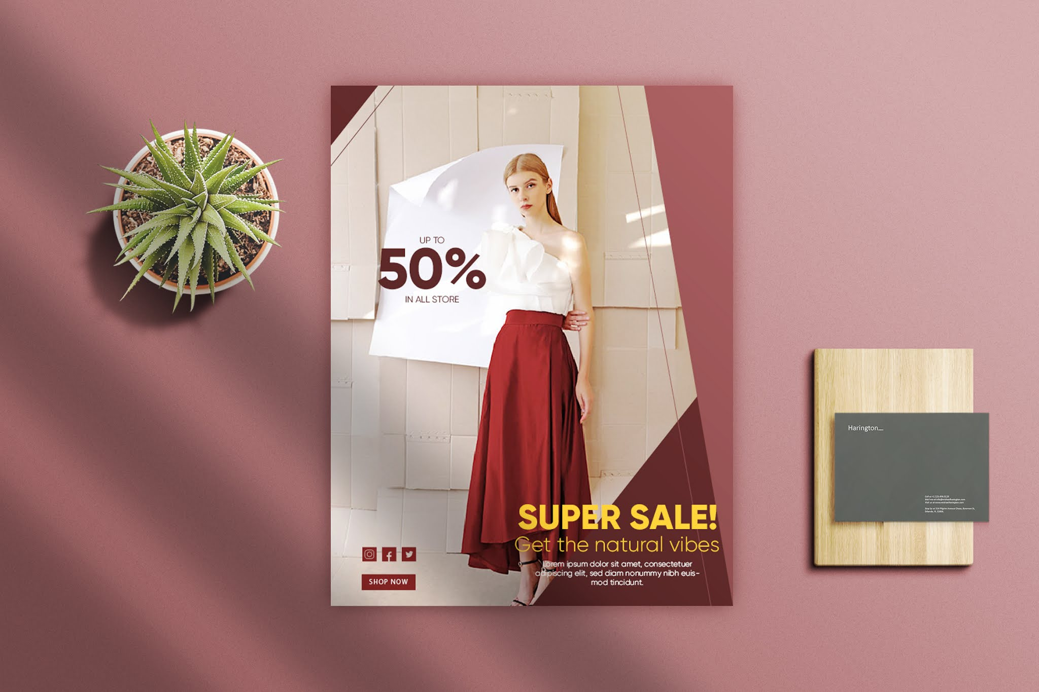 Flyer psd open source professional fashion clothes red