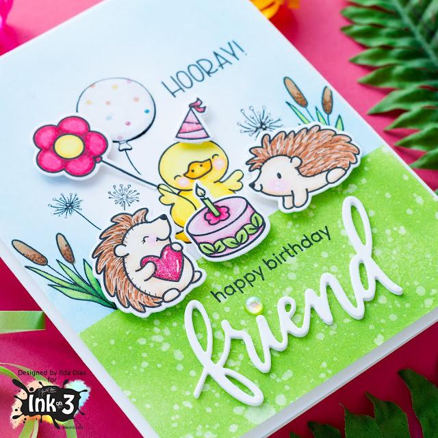 Woodland scene birthday card | Heffy Doodle and InkOn3 CollaborationBlog Hop