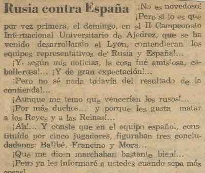 Recorte del Diari de Terrassa sobre el match Rusia-España en el II Campeonato Mundial Universitario de Ajedrez Lyon 1955
