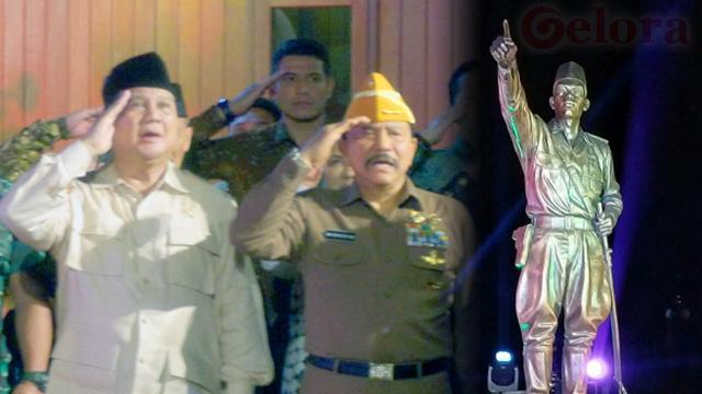 Hari Pahlawan, Menhan Prabowo Resmikan Patung Jenderal Sudirman di Rumah Hendropriyono