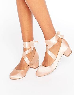 Asos pink satin ballerina style low block Heel