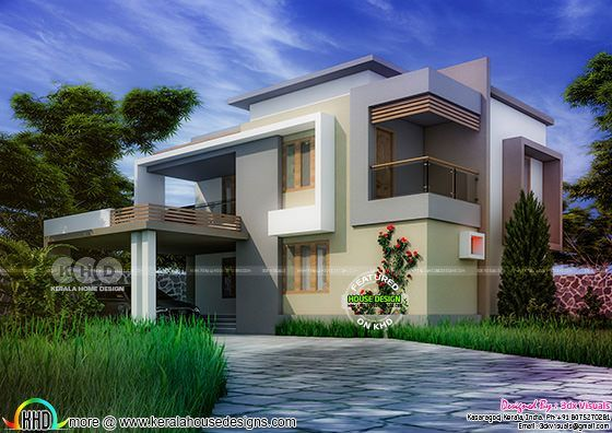 5 bedroom contemporary residence exterior design Kerala