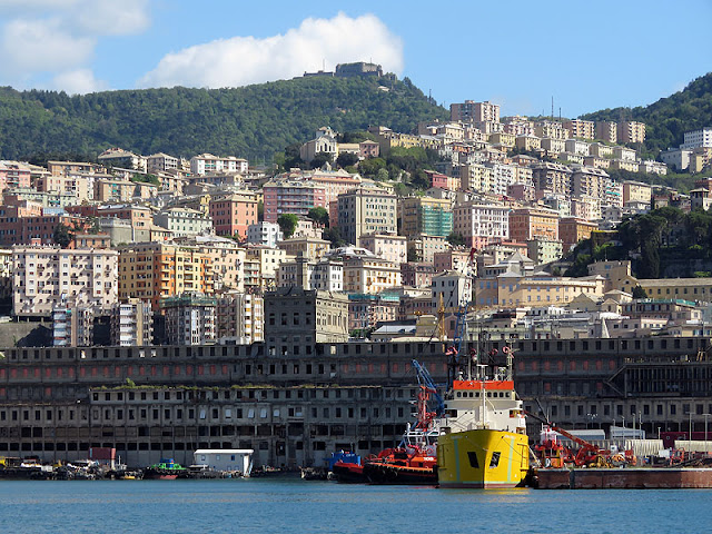 The city seen from the Porto Antico, Old Port, Genoa
