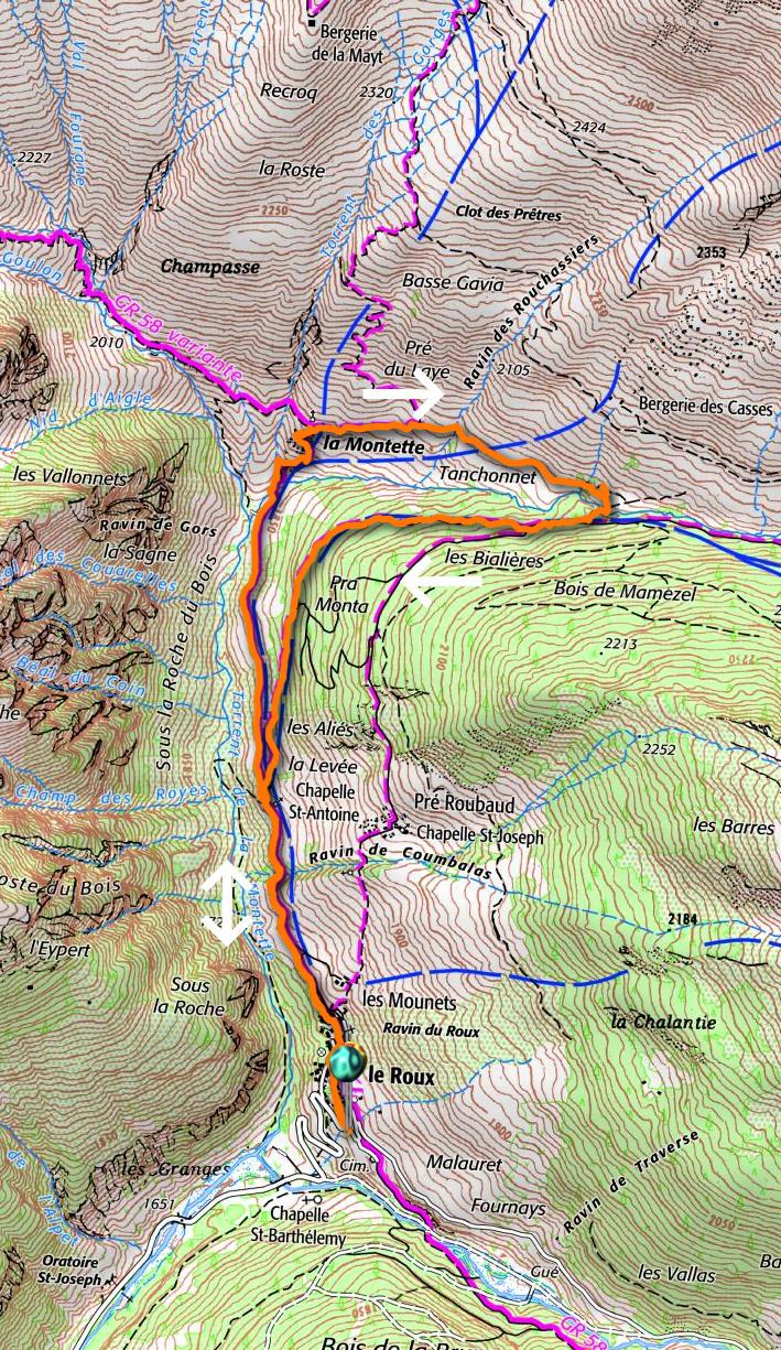 La Montette hike track
