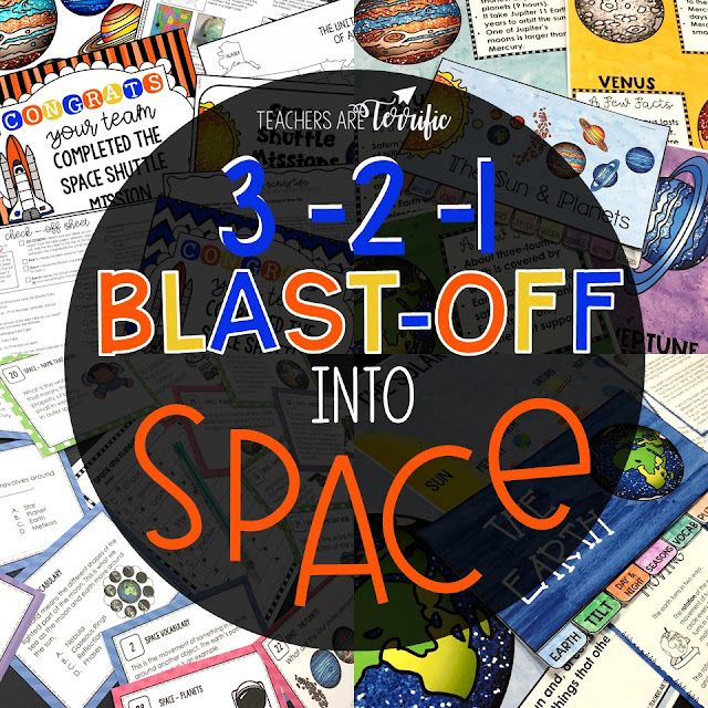Here are some fabulous ways to save you time while your students are studying space topics. This includes an escape rooms, task cards, and reading resources. #teachersareterrific #STEM #escaperoom #elementary