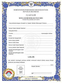 Blangko Ijazah SMP 2018 Kurikulum 2013