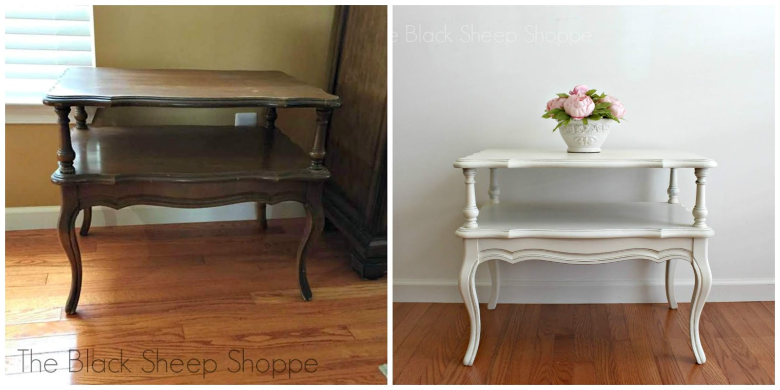 Before and after painted Mersman end table in Old White chalk paint.