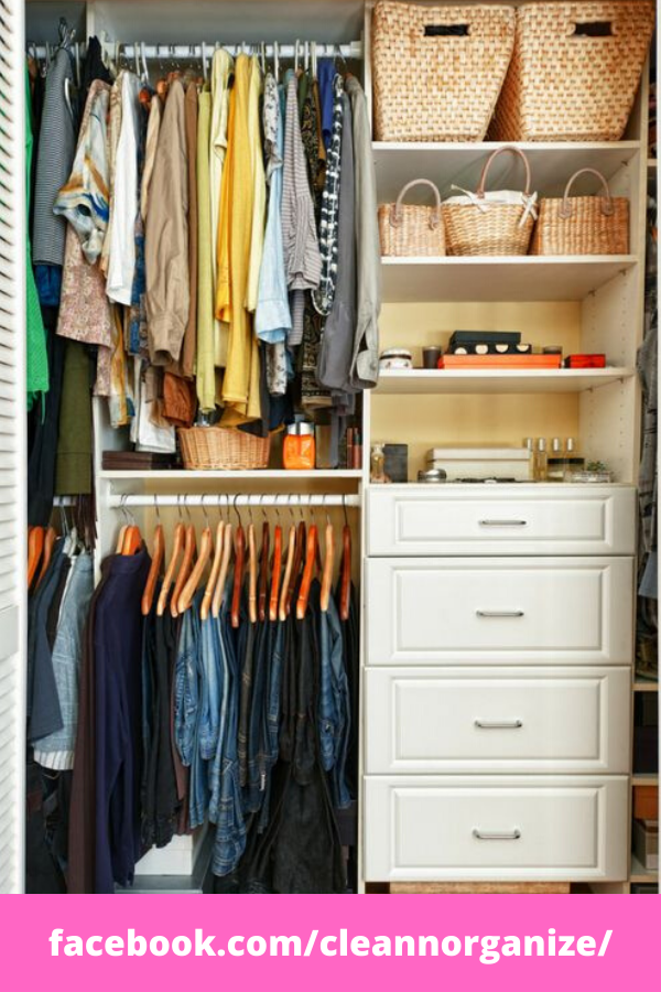 Keep you closet neat ith these small closet oganization ideas and tips.