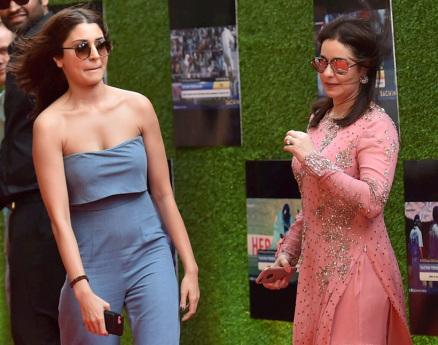 Bollywood actress Anushka Sharma along with Sachin Tendulkar's wife Anjali Tendulkar.