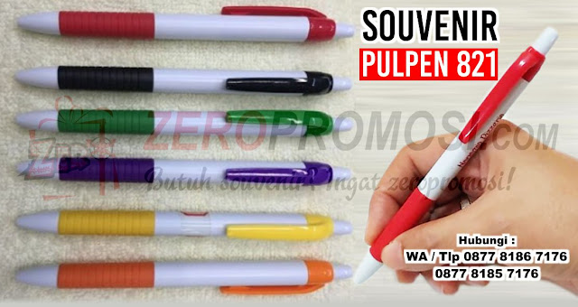Souvenir Pulpen Plastik 821, pen Plastik 821 untuk souvenir dengan custom logo, Bolpoin Promosi Putih 821