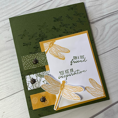 Dragonflies and ladybugs greeting card using Stampin' Up! Garden Wishes Bundle