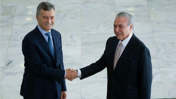 Mauricio Macri se reúne en Brasil con Michel Temer