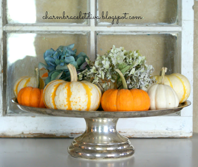 fall decor pumpkins hydrangeas