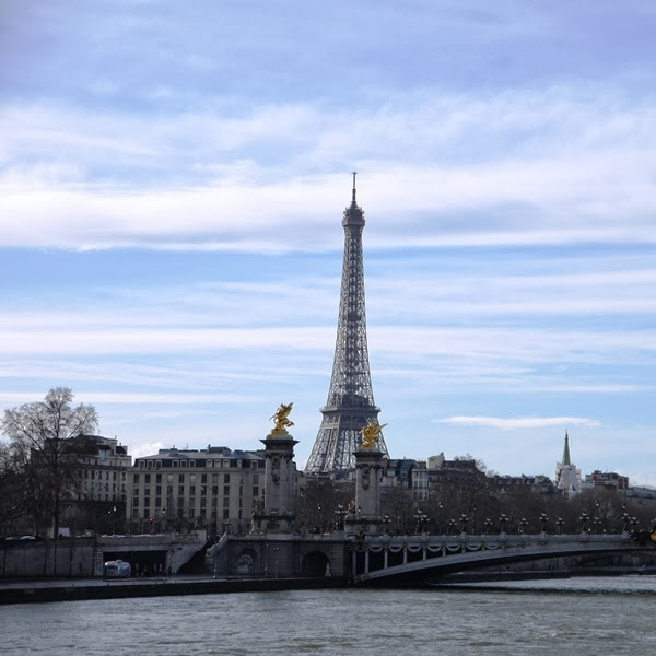View of Eiffel Tower and the Seine in Paris