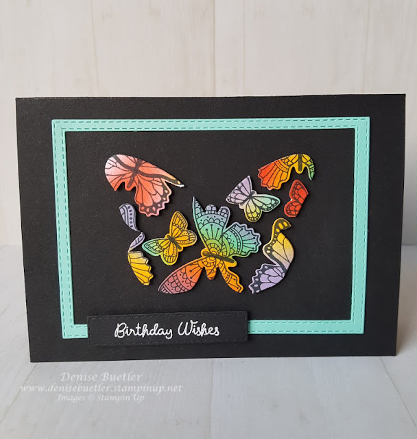 Card showing floating butterflies from the Butterfly Gala stamp set