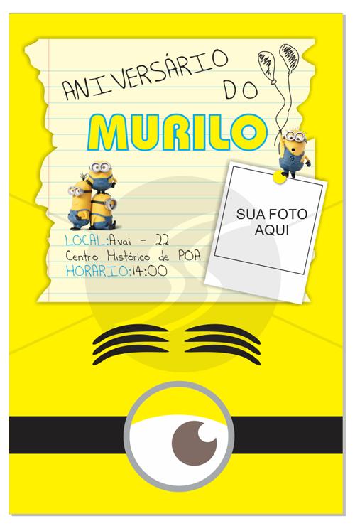 Convites Festinha Tema Minions