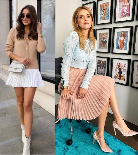 5 Tendências de moda para apostar, saia plissada, Sophie Louise, Chiara Ferragni