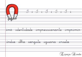 caderno de caligrafia letra I