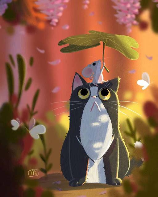 حياة القطط مع البشر,رسم,رسم قطة,رسم حيوانات