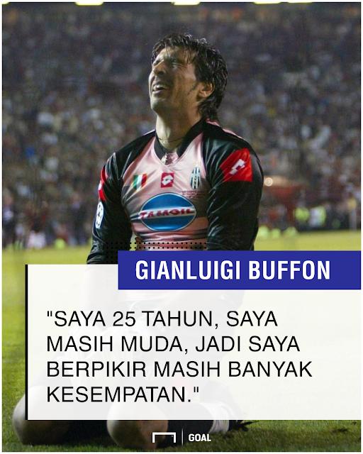 Gianluigi Buffon pentas di Liga Champions waktu masi muda