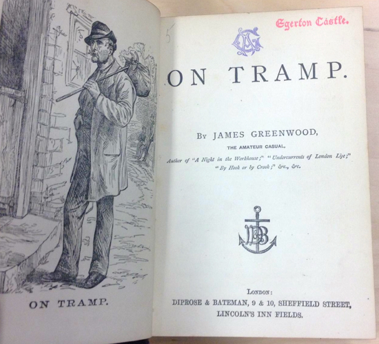 Screen grab of a page from James Greenwood's book On Tramp courtesy of Abe Books (permission pending)