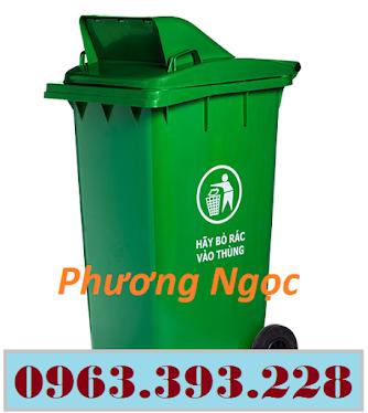 Thùng rác nhựa 120 Lít nắp hở, thùng rác công cộng, thùng rác nắp hở nhựa HDPE