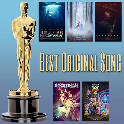 Photo: Best Original Song Academy Award nominees from Toy Story 4, Rocketman, Breakthrough, Harriet, and Frozen II