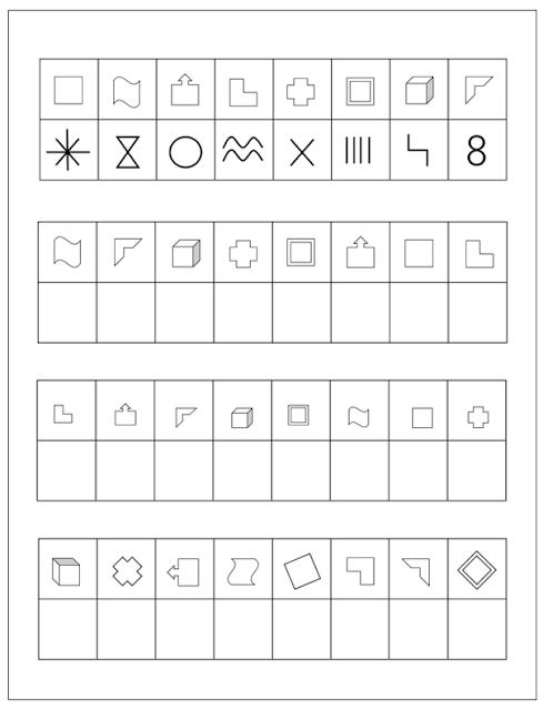 na obrazku widzimy ćwiczenia w tabelce, rózne symbole a pod nimi kształty które trzeba narysować w pozostałych tabelkach