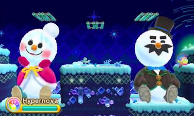 Kirby Triple Deluxe Old Odyssey snowman level snow woman man