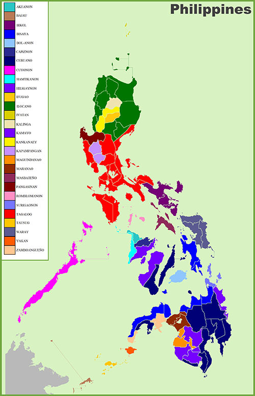 Map of Philippines with Ethnic Groups Map