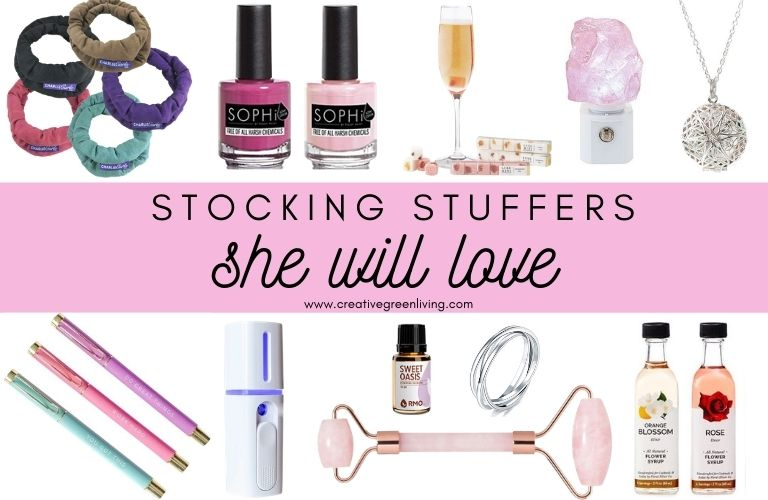 Stocking Stuffers she will love - pictures of lots of stocking stuffer ideas for women including pens, nail polish, essential oils, skin care, socks, jewelry, crystals and more