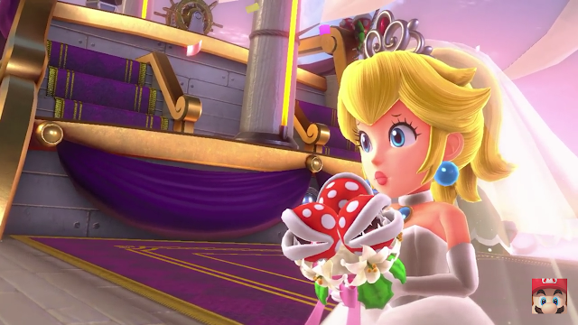 Super Mario Odyssey wedding dress Princess Peach Piranha Plant flowers worried