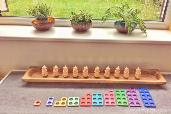 numicon and corresponding peg pot people with numbers