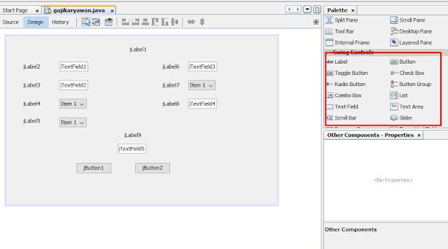 tampilan input penggajian karyawan dengan menggunakan java netbeans