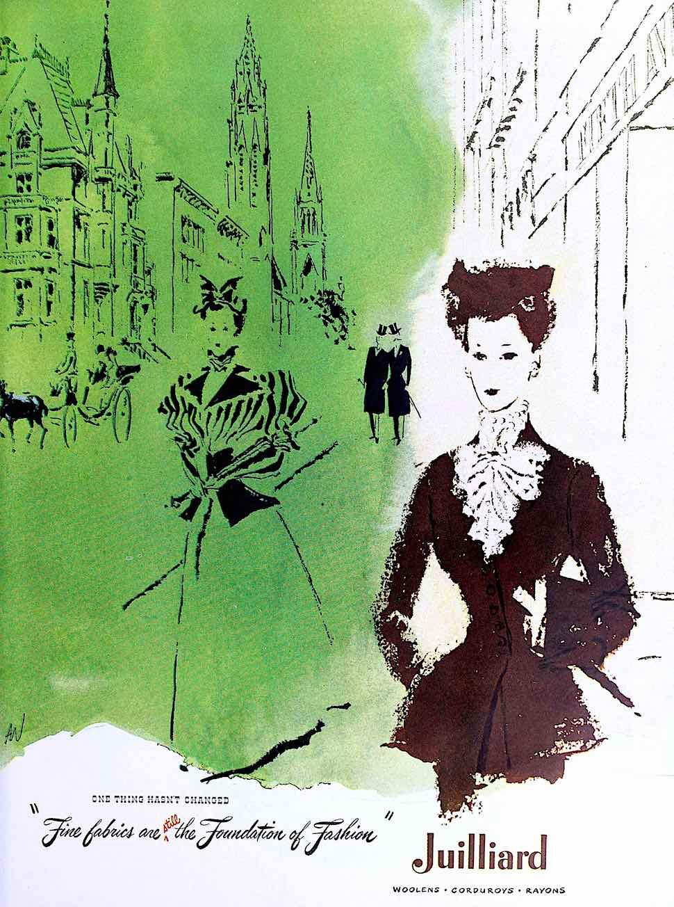 a 1948 fashion illustration in green for Julliard Fabrics